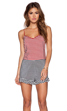 Red Valentino Striped Silk Romper in Ruby