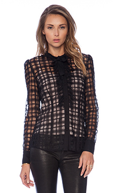 Red Valentino Tie Neck Blouse in Black