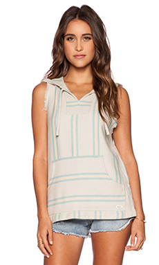 RVCA Pueblo Player Sleeveless Poncho in Vintage White