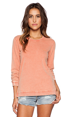 RVCA Embroidered Acid Wash Sweater in Ginger