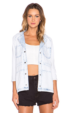 RVCA Bonfire Nights Denim Jacket in Light Blue