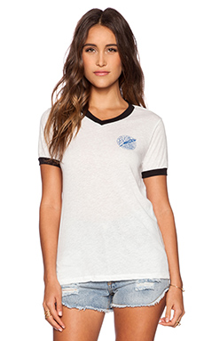 RVCA Quill Ringer V-Neck Tee in Vintage White