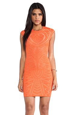 RVN Mayan Lace Jacq Dress in Tangerine & Nude
