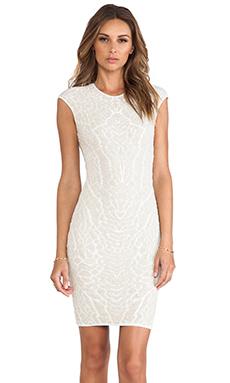 RVN Alligator Jacquard Sheath Dress in Nude/White