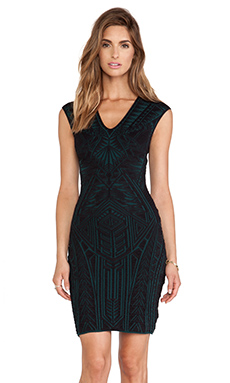 RVN Polynesian Tattoo 3D V Neck Jacquard Dress in Botanical Green & Black