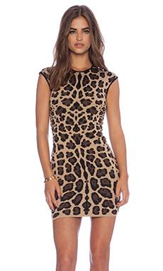 RVN Jaguar Jacquard Sheath Dress in Nude & Brown