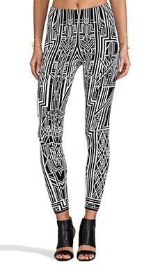 RVN Tron Flat Jacquard Pants in White & Black