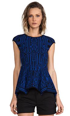 RVN Tron Lace Jacquard Poplin Top in Blue & Black