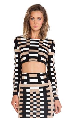 RVN Mondrian Jacquard Long Sleeve Crop Top in Tan & Black & White