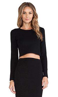 RVN Basic Long Sleeve Boxy Crop Top in Black