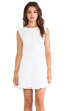 RACHEL ZOE Marcel Cap Sleeve Cut Out Dress in Optic White