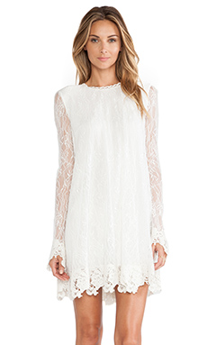 RACHEL ZOE Serafina Lace Babydoll Dress in Winter White
