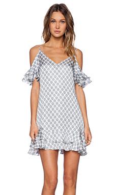 RACHEL ZOE Daniela Ruffle Dress in White Combo