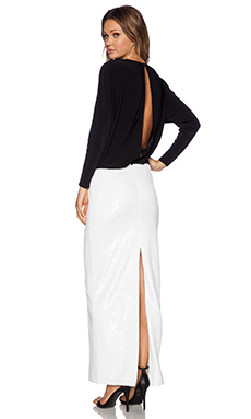 RACHEL ZOE Aviana Maxi Dress in Optic White & Black