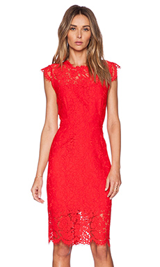 RACHEL ZOE Suzette Lace Dress in Rouge