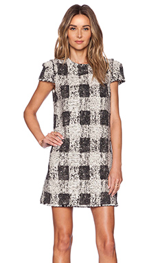 RACHEL ZOE Stewart Shift Dress in Ivoire & Black