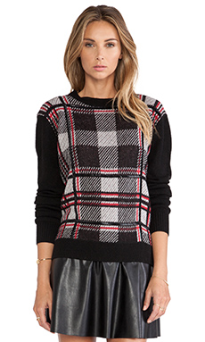 RACHEL ZOE Samara Plaid Sweater in Black Combo