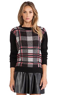 RACHEL ZOE Samara Plaid Sweater in Black Combo