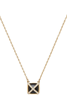RACHEL ZOE Square Pyramid Necklace in 14K Gold & Onyx