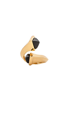 RACHEL ZOE Bypass Ring in 14K Gold & Onyx