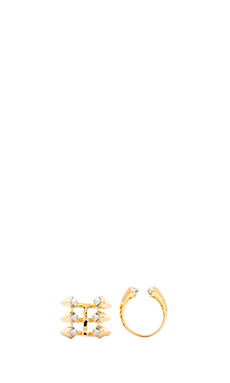 RACHEL ZOE Set of Two Rings in 14K Gold & IRH