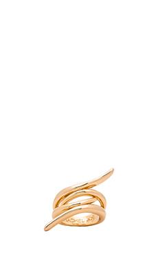 RACHEL ZOE Metal Pod Crossover Ring in Gold