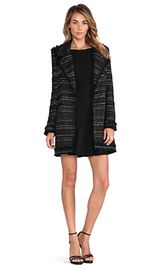 RACHEL ZOE Aria Tweed Coat in Black