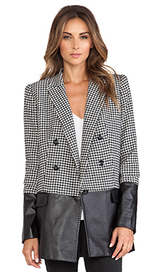 RACHEL ZOE Huxley Houndstooth Jacket in Black & Winter White