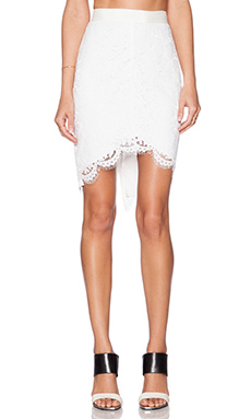 RACHEL ZOE Jules High Low Lace Skirt in Pure White