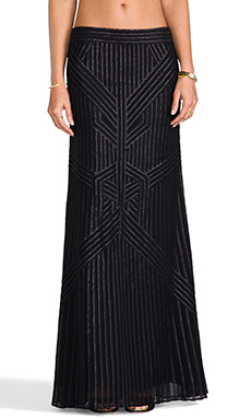 RACHEL ZOE Pearl Sequin Maxi Skirt in Black
