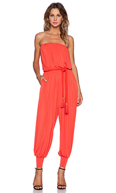 RACHEL ZOE Josephine Strapless Jumpsuit in Red Orange