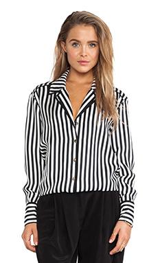 RACHEL ZOE Liv Stripe Blouse in Black & Winter White