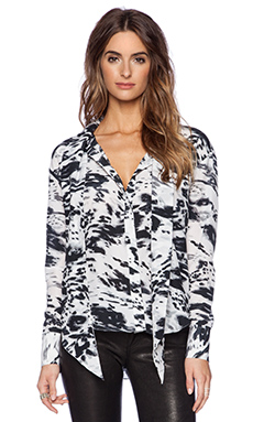 RACHEL ZOE Linley Neck Tie Blouse in Optic White & Black