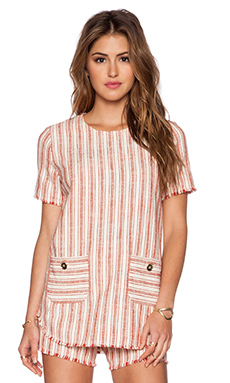 RACHEL ZOE Codi Pocket Tee in Ivoire & Brick