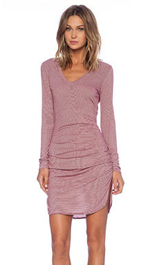 Saint Grace Nadya Long Sleeve V Neck Dress in Cran