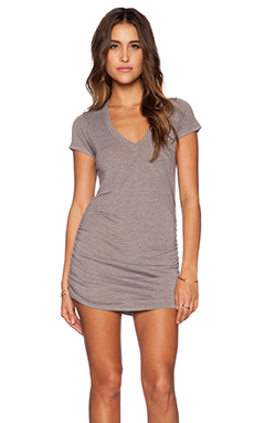 Saint Grace Shirred V Neck Dress in Stone