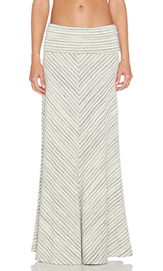 Saint Grace Chevron Maxi Skirt in Cream Stripe