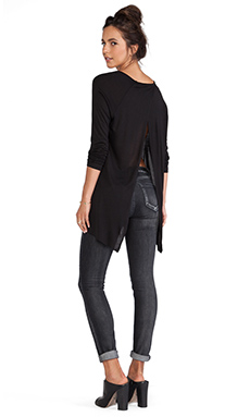 Saint Grace Open Back V Long Sleeve Top in Black