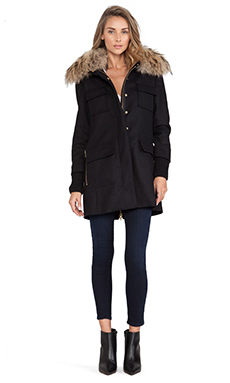 SAM. Campus Jacket with Asiatic Raccoon Fur Collar in Black