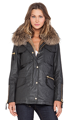 SAM. Rabbit Kate Parka with Fur Trim in Carbon