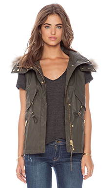SAM. New Madison Vest with Natural Asiatic Raccoon Fur in Military
