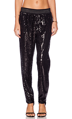 Sam Edelman Scallped Leg Sequin Jogger in Black