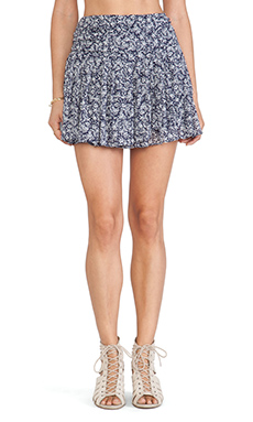 Sam Edelman Shirred Flounced Mini Skirt in Eclipse