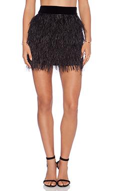Sam Edelman Velvet Waist Feather Skirt in Black