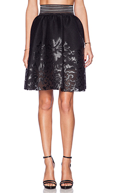 Sam Edelman Mesh Skirt with Floral Applique in Black