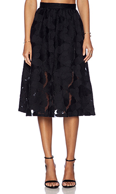 Sam Edelman Embroidered Midi Skirt in Black