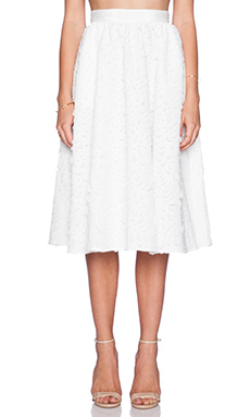 Sam Edelman Full Mid-Length Skirt in Bright White