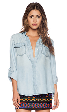 Sam Edelman Split Back Button Shirt in Light Blue