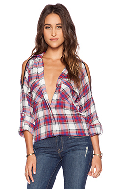 Sam Edelman Plaid Shirt in Blue & Red Multi