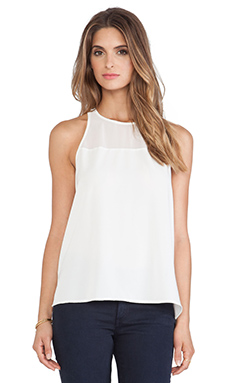 Sam Edelman Sheer Yoke Tank in Ivory
